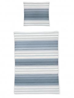Irisette Bettwasche Calypso 8735 20 Seersucker Blau Gestreift 100 Baumwolle