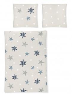 Irisette Edel-Fein- Biber Bettwäsche 8657-20 grau mit Sternen