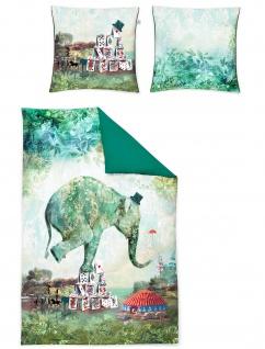 Irisette Mako-Satin Bettwäsche Set Juwel-K 8819-30 grün Wendeoptik Digitaldruck