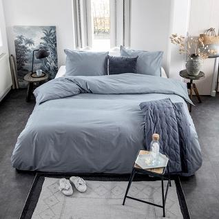 WALRA Bettwäsche Renforcé Soft Structure blau 100% Baumwolle Uni