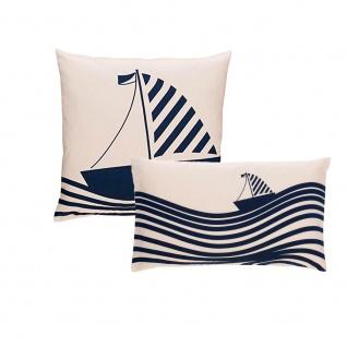 Scantex Kissenhülle Sail Segelboot maritim in zwei Größen 100% Baumwolle mit RV