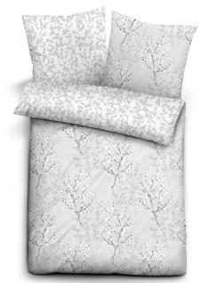 Biberna Feinbiber Delux Bettwäsche 4258-019 grau Florales Muster Wendeoptik