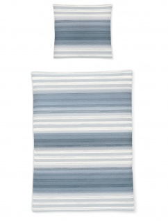 Irisette Bettwäsche Calypso 8735-20 Seersucker blau gestreift 100% Baumwolle