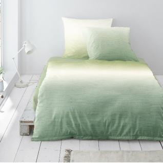 Irisette Biber Bettwäsche Davos 8022-30 grün Varbverlauf-Muster 100% Baumwolle