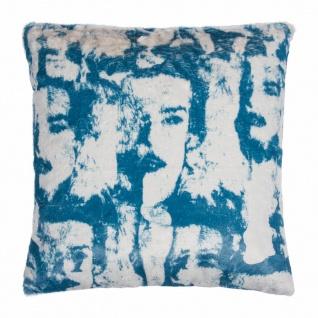 pad concept Kissenhülle Fashion blue 60 x 60 cm Bildmotiv Kunstfelloptik Samt