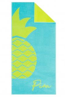 Cawö Strandtuch Ananas türkis-gelb 80 x 180 cm 100% Baumwolle