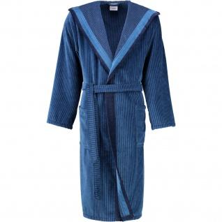 Cawö Herren Bademantel mit Kapuze Luxury Home 5841 11-blau Streifen-Optik