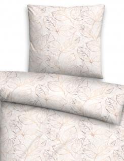 Biberna Edelflanell Bettwäsche 85123-544 Blätter taupe 100 % Baumwolle wärmend - Vorschau 2