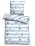 Biberna Biber Kinderbettwäsche 7234-221 blau Sterne & Streifen wärmend bügelfrei