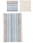 Irisette Biber Bettwäsche Davos 8013-20 blau gestreift 100 % Baumwolle wärmend