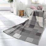 Biederlack Wohndecke Cotton Home 7 Check Coal 150 x 200 cm grau Baumwollmischung