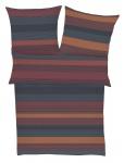 Baumwollsatin Bettwäsche 5896-455 blau - terracotta aus 100% Baumwolle
