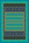 Bassetti Plaid CERVINO V2 Türkis 135 x 190 Ornamenten Muster gesteppt.