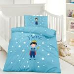OptiDream Kinder Bettwäsche PRINZ blau 100x135 + 40x60 cm 100% Baumwolle
