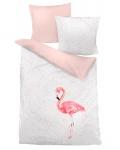 Dormisette Mako-Satin Bettwäsche 7466-rosa Flamingo Digitaldruck 100% Baumwolle