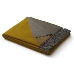Biederlack Wolle-Kaschmir Plaid Velvet ocker-grau 130 x 170 cm aus Wollmischung