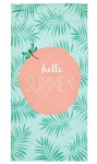 done.® Hamam / Strandtuch HELLO SUMMER mint 90 x 180 cm, mit eingenähte Tasche mit RV