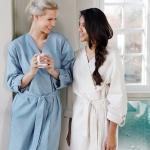 WALRA leichter Morgenmantel uni aus 100% Baumwolle in zwei Farben