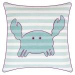 "pad concept - Kissenhülle "" Mr. Crab"" Streifen mit Krebs aqua türkis weiß 40x40 cm, Keder pink"