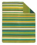 Ibena Jacquard Decke Sorrento 150 x 200 cm grün gestreift Baumwollmischung