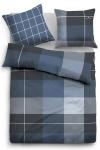 Tom Tailor Melange Flanell Bettwäsche Karo 9884-807 indigo blue 100% Baumwolle