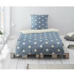 Irisette Biber Wendebettwäsche Dublin Sterne blau 8025-20 aus 100% Baumwolle