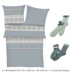 s.Oliver Flanell Bettwäsche 2-er Set 135 x 200 cm + 2 x Socken in Geschenkbox