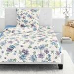 Irisette Biber Bettwäsche Davos 8012-20 blau Blumen 100 % Baumwolle wärmend