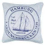 Kissenhülle - Kissenbezug Ocean Hamburg- blau weiss - 45x45 cm - ohne Füllung