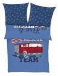 s.Oliver Renforce Kinderbettwäsche Feuerwehrauto, blau 4355-600