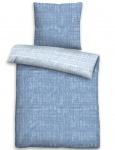 Biberna Fein-Biber Wendebettwäsche 3620-282 CHAOS-KARO-MIX azurblau aus 100 % Baumwolle