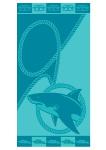 Ross Strandtuch Hai 70 x 150 cm Walk-Frottier türkis-blau 100% Baumwolle