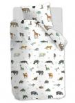 Kinderbettwäsche KIDS Zoo multi aus 100 % Baumwolle mit Tier-Motiven auf weißen Hintergrund
