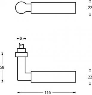 Bauhaus Stil Türdrücker WEIMAR 1922 Typ-1 MS - Messing Türgriff Türgriffe Drücker - Vorschau 2