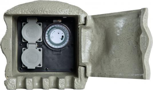 ENERGY STONE - 2-fach Außensteckdose mit Zeitschaltuhr / Timer - Gartensteckdose