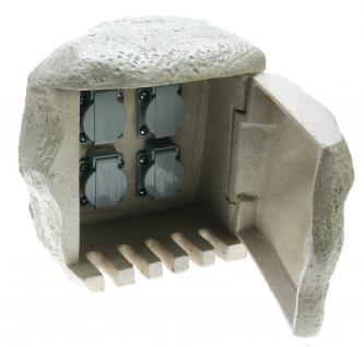 ENERGY STONE - 4-fach Außensteckdose Gartensteckdose