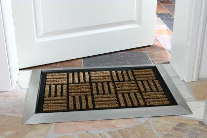 Fußmatte COCONUT mit Edelstahlrahmen - Edelstahl Eingangsmatte Schmutzfangmatte Ringgummimatte Fußabtreter - Vorschau