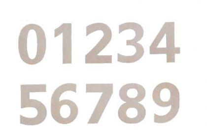 Edelstahl Zahlen, Edelstahl Ziffern, Edelstahl Zimmernummern, selbstklebend, Höhe 78 mm