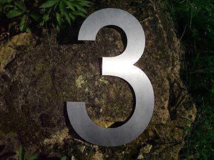 Edelstahl Hausnummer 3XL - Nr. 3 / Höhe 30cm - Vorschau 2