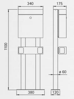 Edelstahl Briefkasten WESTFALEN - inkl. separater Zeitungsrolle - freistehend Standbriefkasten Briefkästen - MADE IN GERMANY - Vorschau 3
