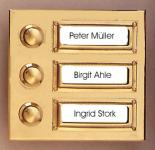 Messing Klingel MK-1008-3 für das Mehrfamilienhaus Türklingel Klingeltaster Klingelplatte Klingelschild
