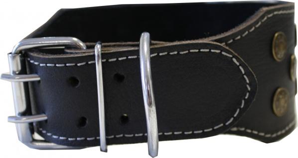 Hundehalsband aus echtem Leder 45-54cm in schwarz - Vorschau 2