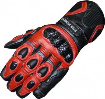 German Wear, Motorradhandschuhe Motorrad Biker Lederhandschuhe rot/anthrazit