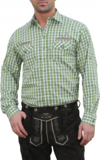 German Wear, Trachtenhemd für Lederhosen mit Verzierung grün/kariert