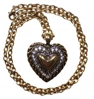 Trachtenkette Herzanhänger Straßsteine Metall Herz Tracht Kette gold