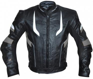 German Wear, Motorradjacke Lederjacke Chopperjacke Cruiser jacke Schwarz/Grau