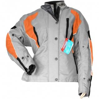 Damen Motorradjacke Textilienjacke Grau Orange - Vorschau 2