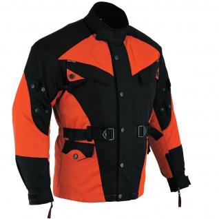 Motorradjacke Cordura Textilien Orange/Schwarz - Vorschau 3