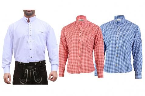 GermanWear Trachtenhemd mit Edelweiß-Stickerei stehkragen 100% Baumwolle