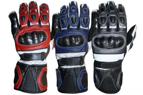GermanWear Motorradhandschuhe Motorrad Biker Handschue Lederhandschuhe in 3x Farben